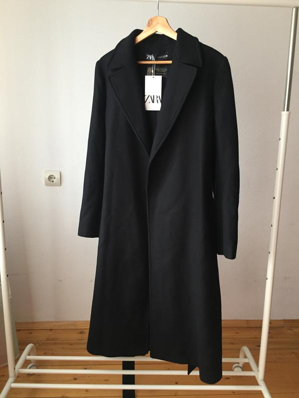 Пальто из смешанной шерсти с поясом zara ZARA, ціна - 2390 грн, #59005603, купить по доступной цене | Украина - Шафа