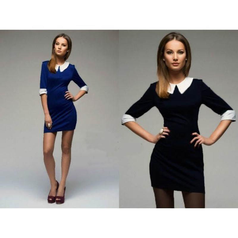 64456be15d0 Темно-синее трикотажное платье с белым воротником