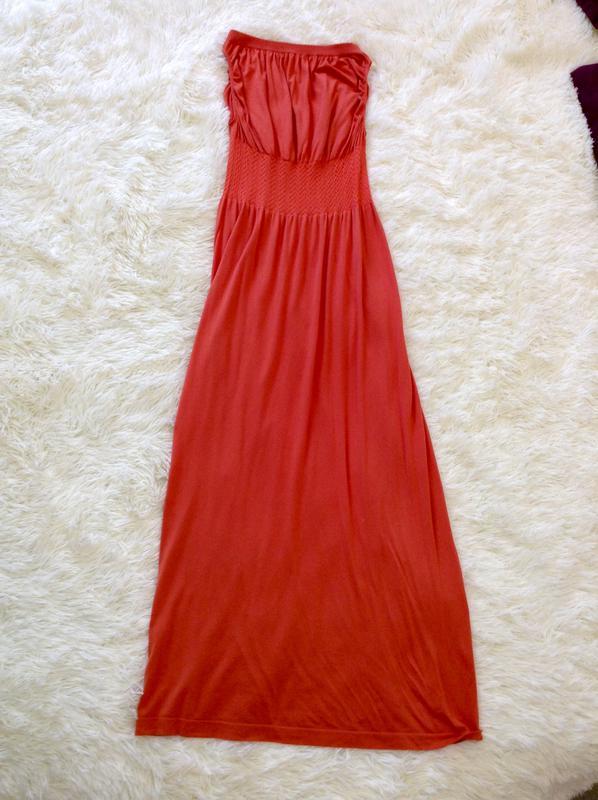 fbbddefd320 Летнее платье в пол морковного цвета1