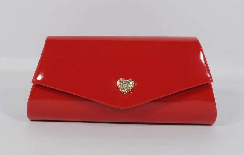 6d927580c7c8 Вечерний красный лаковый клатч rose heart 2-103056 на цепочке1 фото ...