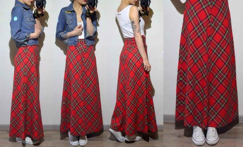 Юбки макси из шотландки