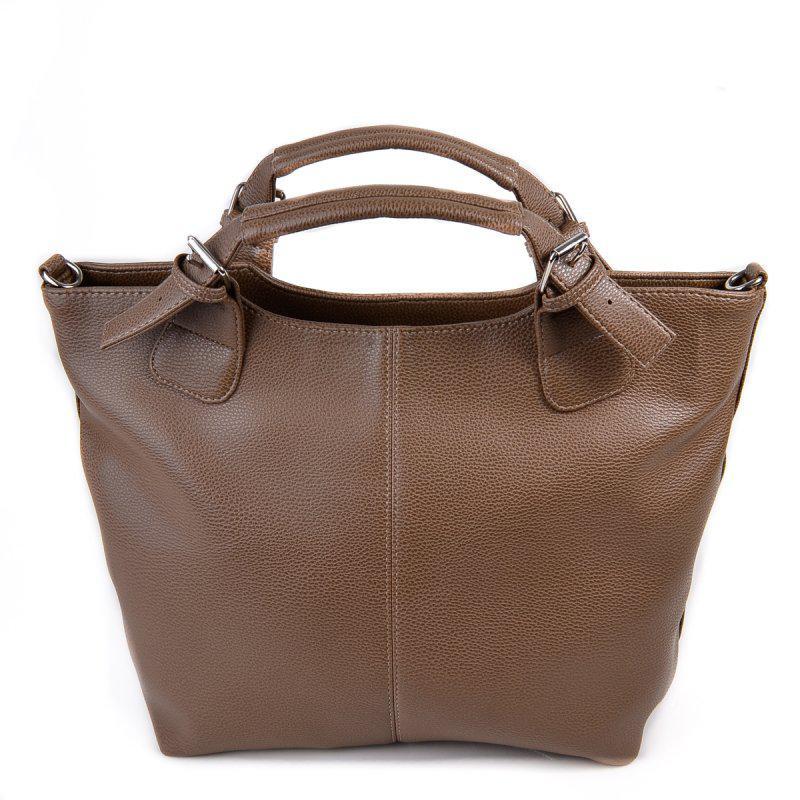 ae1550a7b796 Женская сумка шоппер темная оливкового цвета мягкая матовая на плечо1 фото  ...