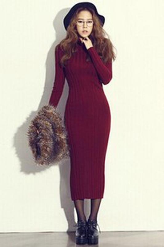 длинное вязаное платье бордового цвета цена 120 грн 7330966