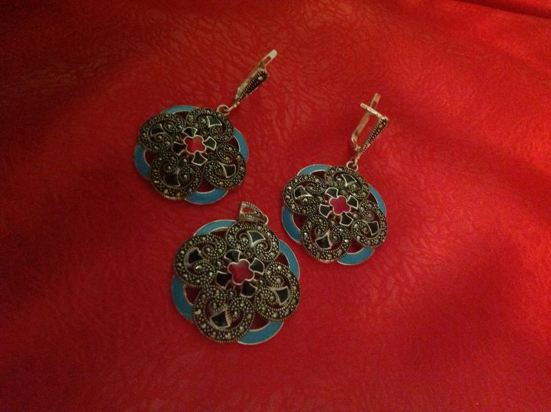 Шикарный набор серебро 925 пр капельное серебро с маркезитами и эмалью1 ... 42e69110baf