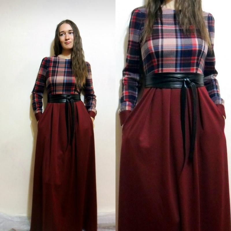 96f6f0db27a9a07 Шикарное осеннее платье в пол. платье в клетку. авторское платье.1 фото ...