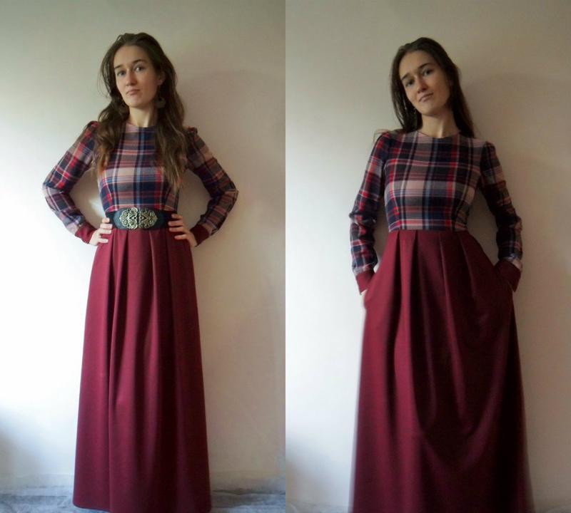 4efb3503daae6eb ... Шикарное осеннее платье в пол. платье в клетку. авторское платье.4 фото  ...