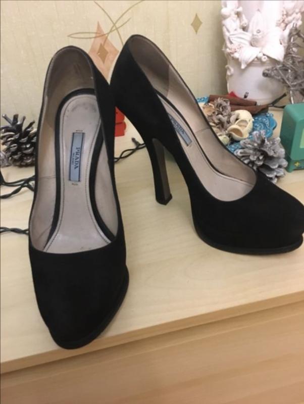 Чёрные туфли италия prada оригинал замш вечерние на высоком каблуке 24 см1  ... f203fd8bf4d