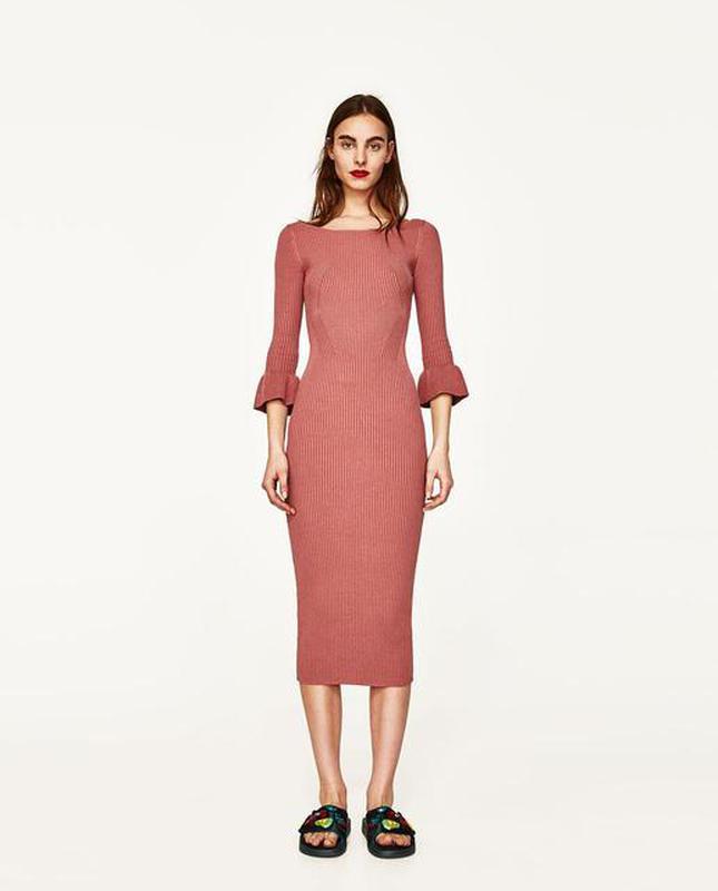 длинное вязаное платье в рубчик от Zara Zara цена 900 грн