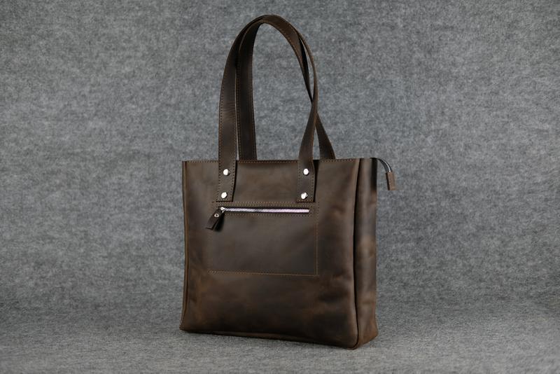 64180ab37a5a ... Кожа. ручная работа. кожаная темно-коричневая женская сумка-шопер3 фото  ...