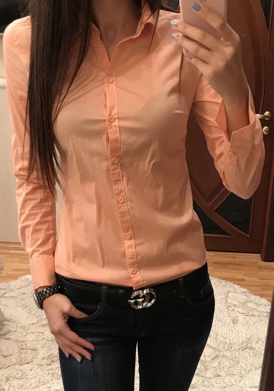 4a6aa156f362 Классическая рубашка женская персиковая приталенная slim fit за 250 грн. |  Шафа