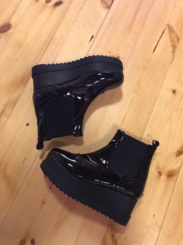 74dca1782 Ботинки/женские ботинки/черные ботинки/плоских ход/платформа/лаковые  ботинки1 фото ...
