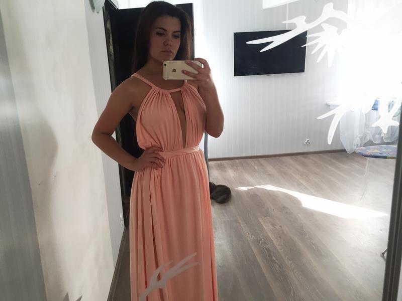 a9f633ccc4a Шикарное персиковое платье с открытой спиной1 ...