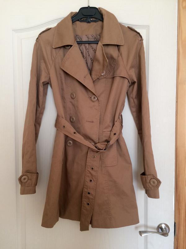 Плащ тренч пальто коричневый песочный беж с поясом стильный модный1 ... 37f82d156b0cf