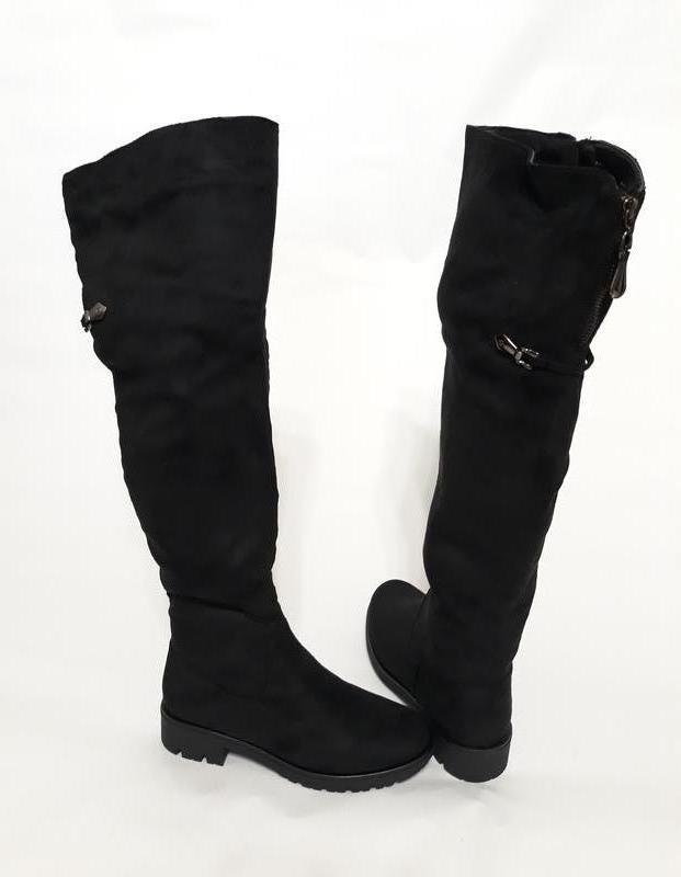 b015bab97a84 Женские зимние черные ботфорты (сапоги) из эко-замши, цена - 590 грн ...