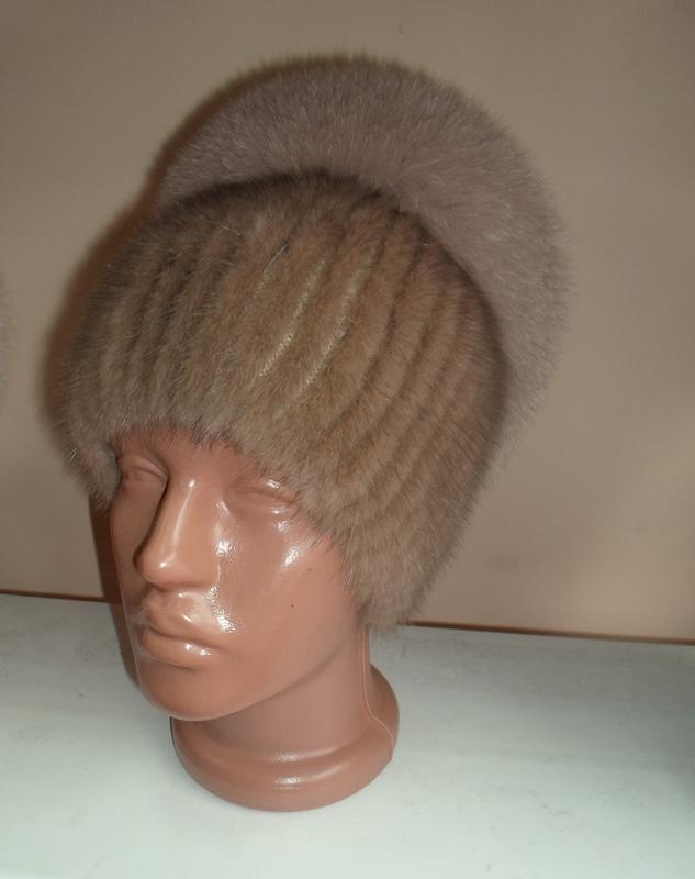 норковая меховая шапка на вязаной основе универсал цена 1100 грн