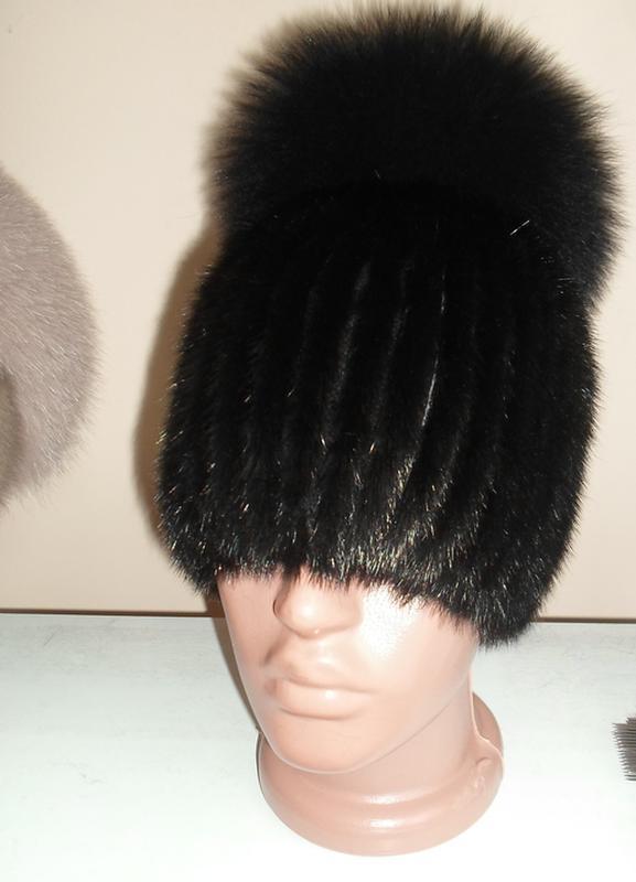меховая шапка на вязаной основе ондатра песец качество цена