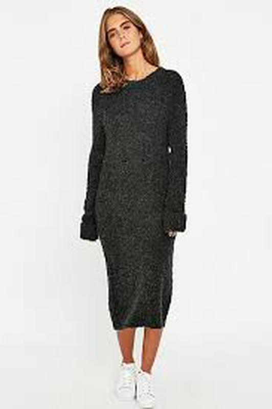 f7eb8c35fda Тёплое осеннее зимнее шерстяное чёрное миди платье-свитер с длинным рукавом  размер s- ...