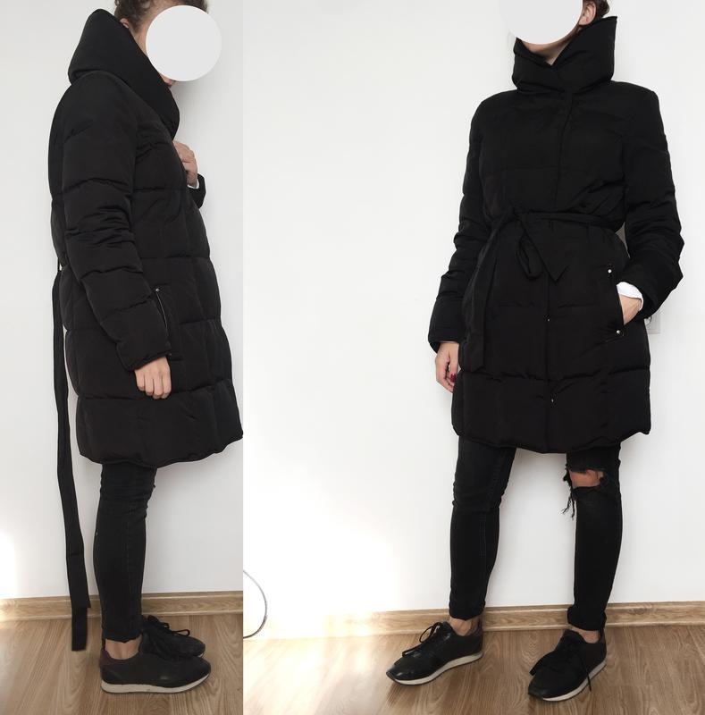 13953bdf531 Пуховик куртка stradivarius черный теплый стильный высокий ворот1 фото ...