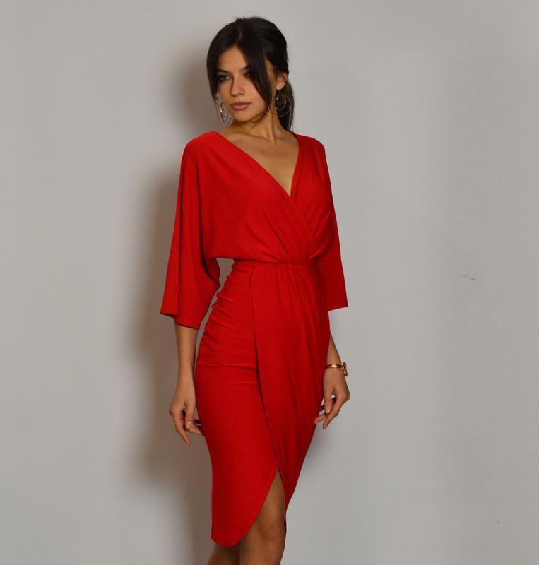 120055fce7c237a Роскошное женственное красное платье миди на запах с рукавами и разрезом1  фото ...