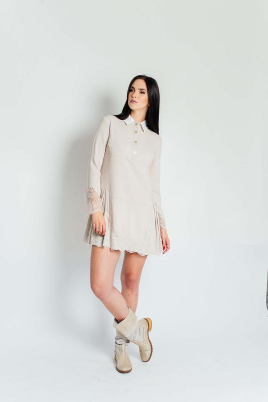 07d18011ce4 Бежевое платье с кружевом размеры s