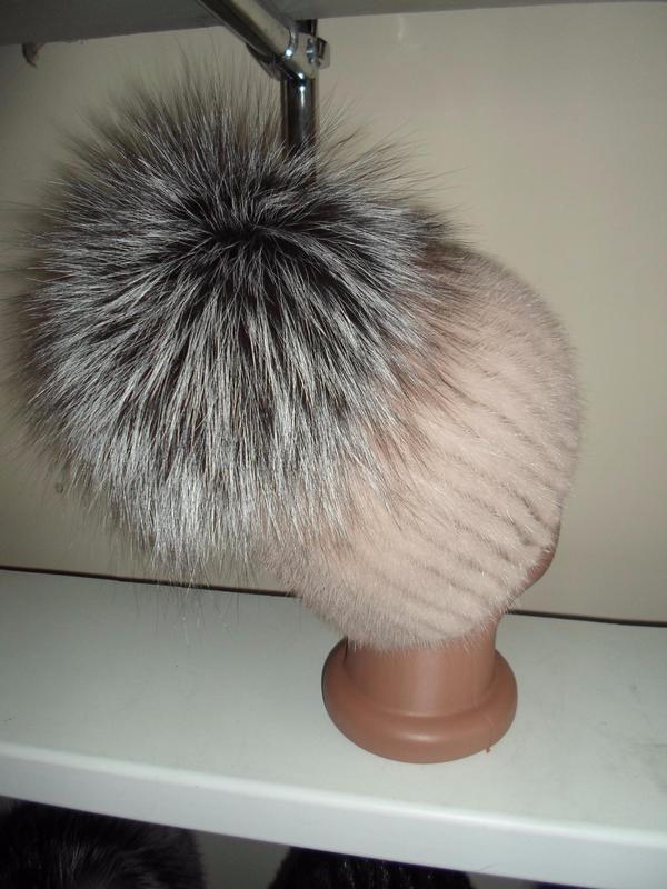 меховая шапка на вязаной основе норка финская чернобурка цена