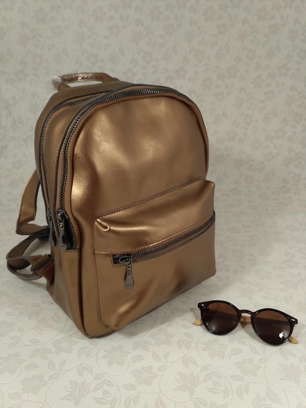 12cd9b906d90 Натуральная кожа, шикарный рюкзак золотого цвета, цена - 849 грн ...