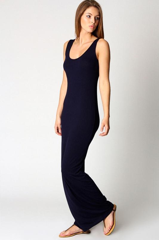 Чёрное трикотажное платье в пол