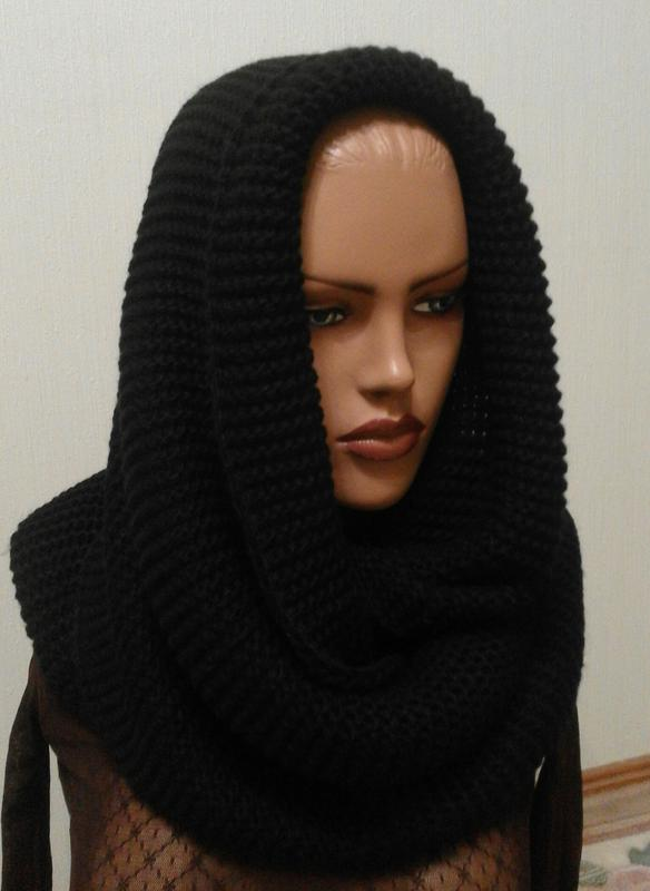 шарф хомут снуд вязаный восьмерка черный цена 200 грн