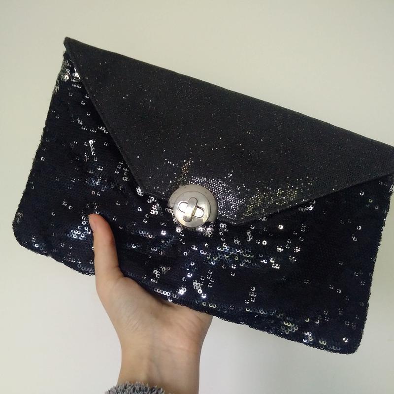 2e6b5c209d45 Клатч черный с паетками блестками маленькая сумка сумочка George ...