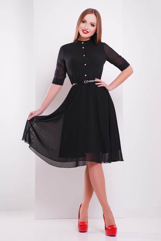 8eaaca5d691 Изящное черное платье с шифоновыми рукавами1 фото ...