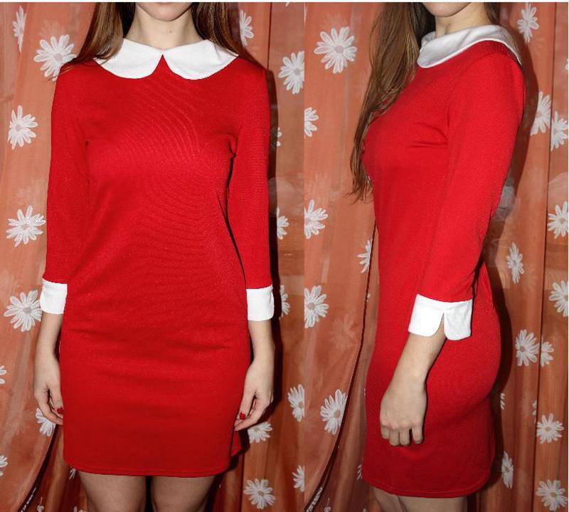 0ea1c5f53f6a140 Красное платье школьница с белым воротником, по фигуре, цена - 199 ...