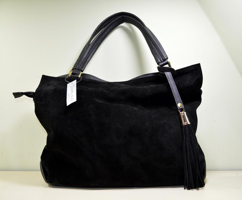 Большая черная замшевая сумка через плечо, цена - 850 грн,  8130297 ... 9d3b98ec4e1