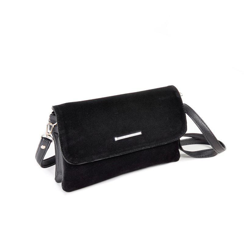 9115d3d73659 Маленькая женская замшевая сумка клатч через плечо черная1 фото ...