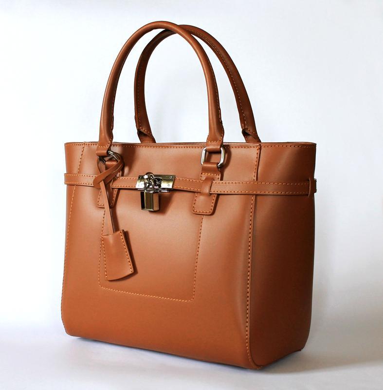 d0e0856ac831 Рыжая кожаная (натуральная кожа) сумка в стиле hermes с замочком, италия1  фото ...
