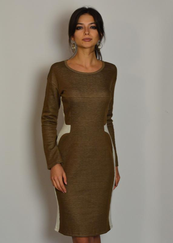 56e4943d1052549 Стильное базовое теплое трикотажное смарт-платье с вставками на талии1 фото  ...