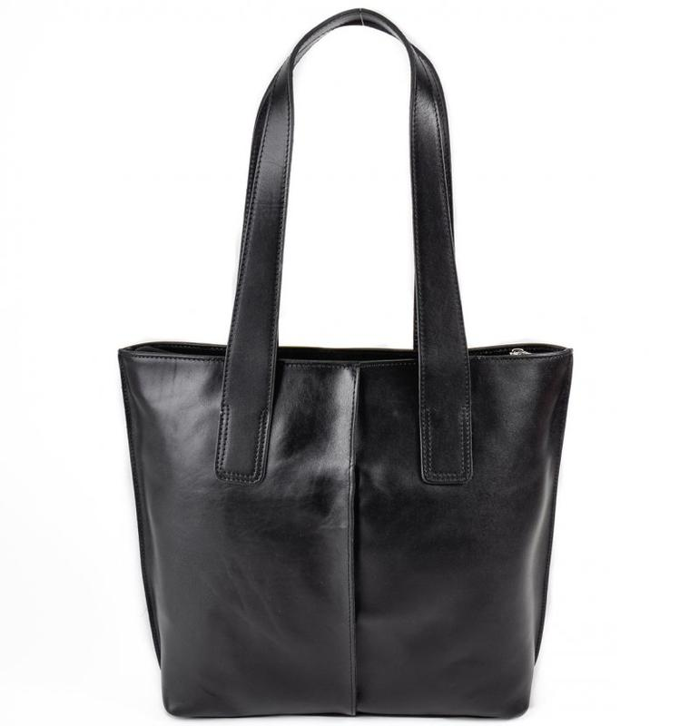 ebd39b46a677 Кожаная женская сумка шоппер черная с длинными ручками на плечо1 фото ...