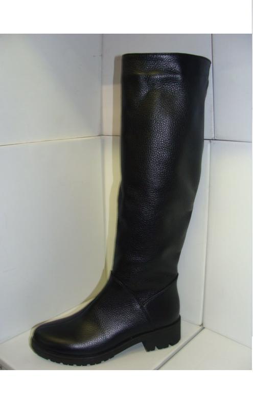 066f2c84829d Женские кожаные модные зимние сапоги трубы низкий каблук, цена ...