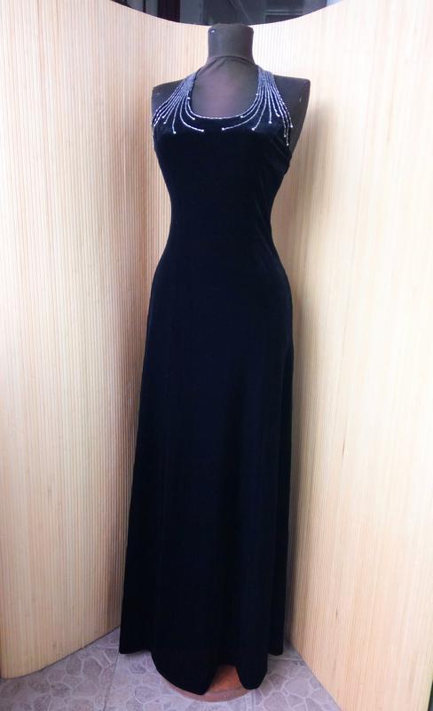 Вечернее винтажное чёрное длинное велюровое платье с открытой спиной  modissa1 ... 57e173b276c