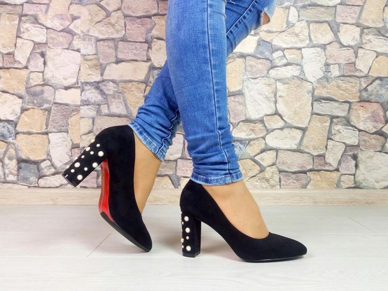 Черные туфли на широком каблуке эко замша 40 р1 ... be02407040d29