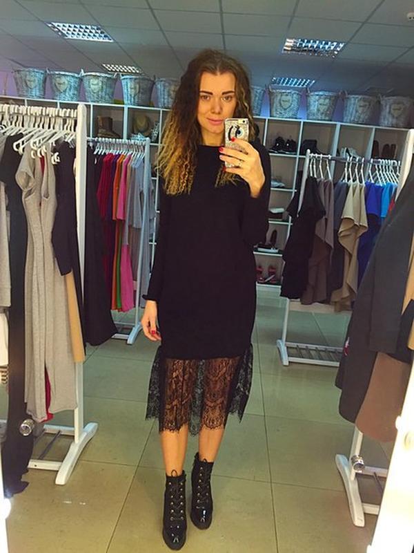 ccb445dc9f5 Шерстяное платье с кружевом клеш1 фото ...