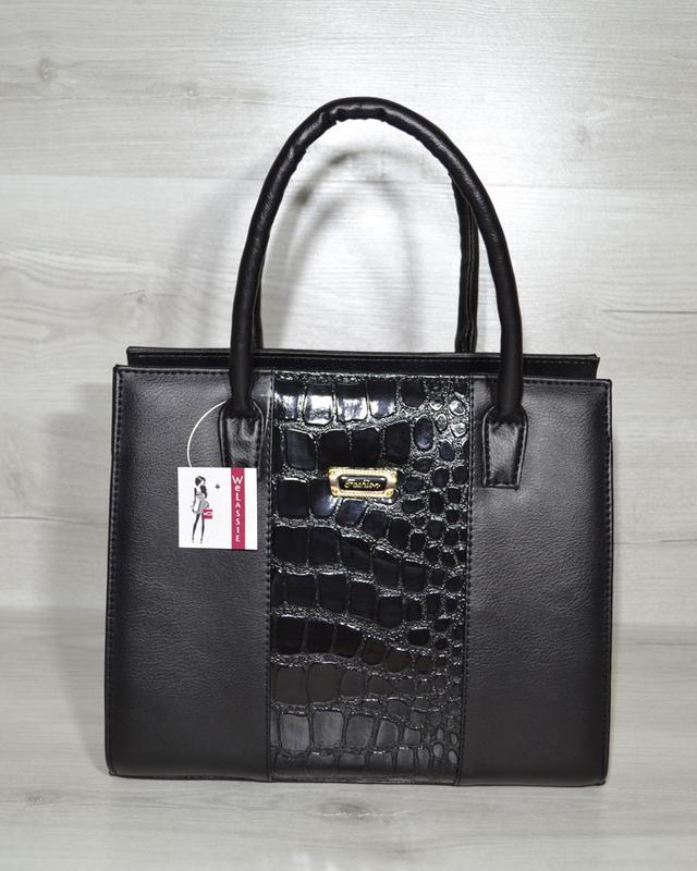 Классическая деловая женская сумка саквояж каркасная матовая с лаковой  вставкой1 ... b4e66ed68ea