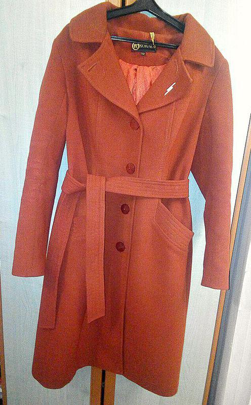 703dd0fe467 Стильное осеннее драповое пальто трендового кирпичного цвета весеннее1 ...