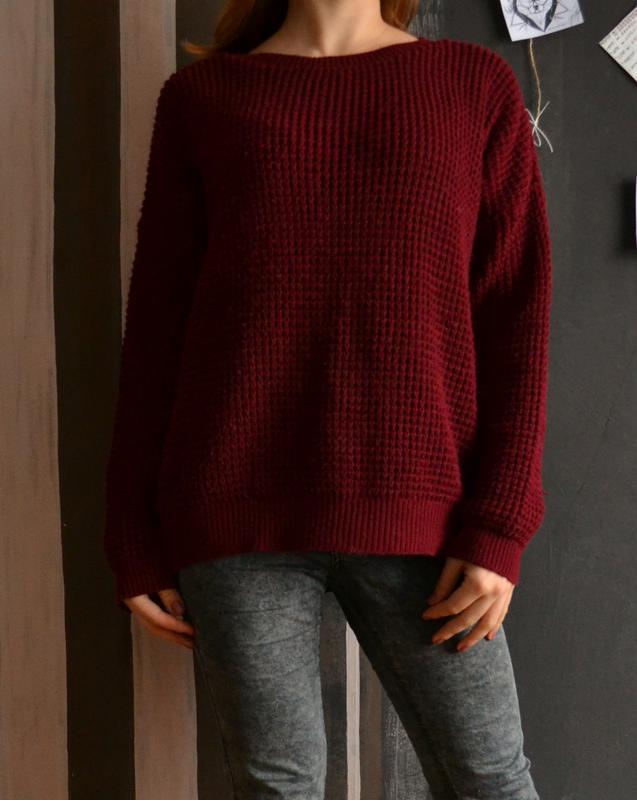 свободный вязаный свитер бордо бордовый марсала винный Topshop