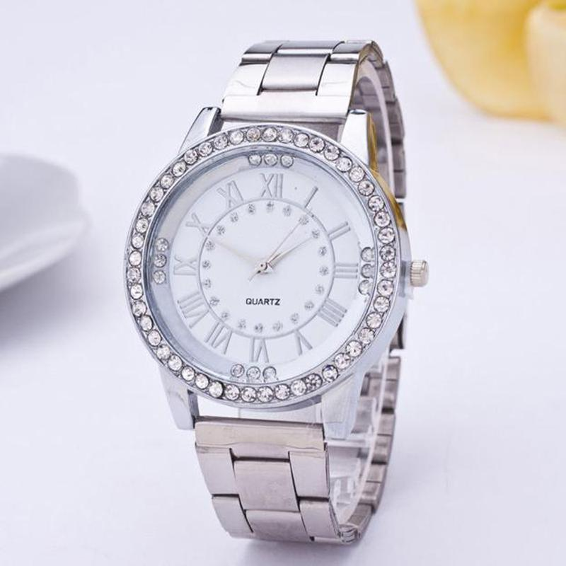9e4c22f982d4 Металлические женские часы украшены стразами и римскими цифрами1 фото ...