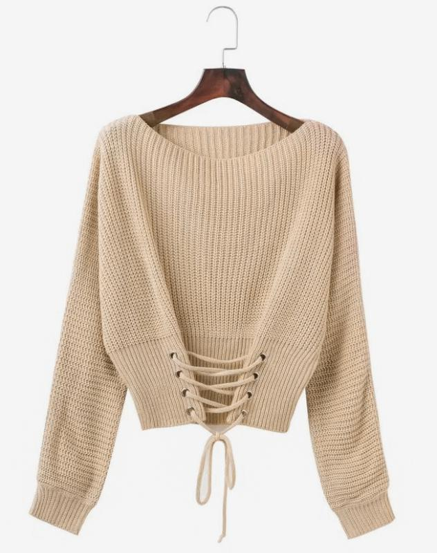 женский вязаный свитер со шнуровкой спереди бежевый цена 500 грн