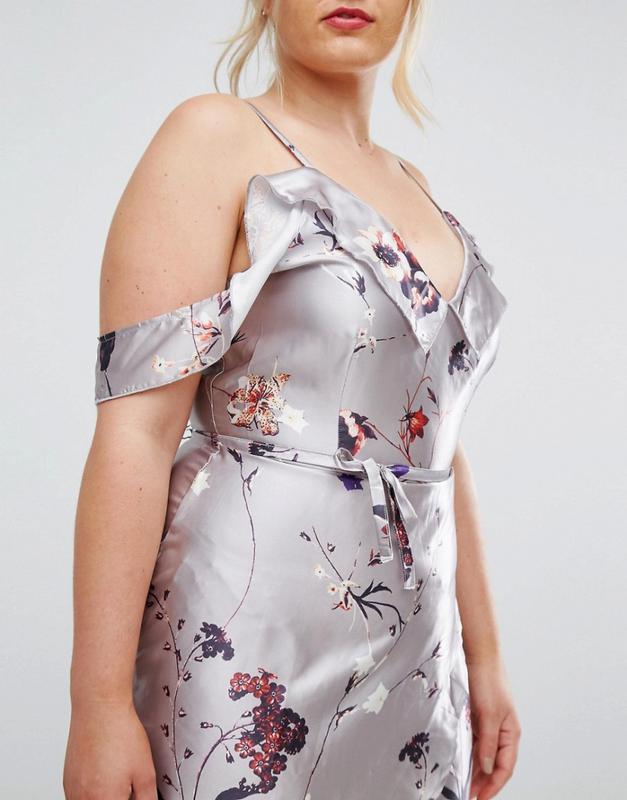 1efab5174aa Asos club l серебристое сатиновое платье с принтом1 фото ...