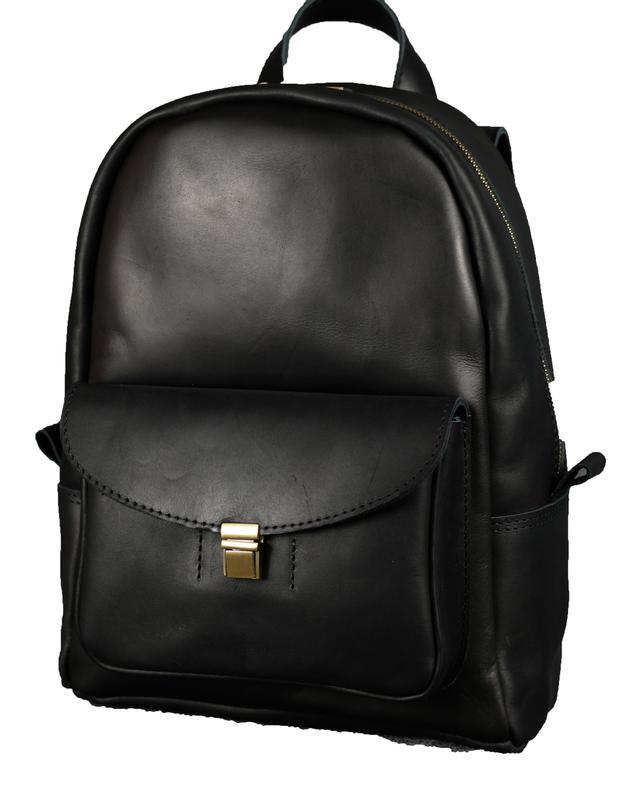 ba79bd8a9030 ... Черный кожаный рюкзак среднего размера с потайным карманом k00028-62  фото ...