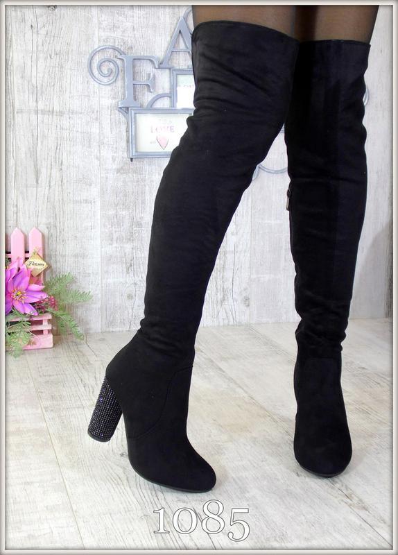 5c5ed1584a8c Женские демисезонные черные замшевые ботфорты со стразами 36-41 за 590 грн.