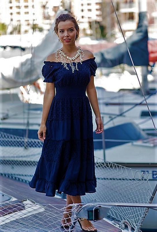 46a2305788c Женское нарядное летнее платье расклешенное с кружевом из натурального  хлопка испания1 ...