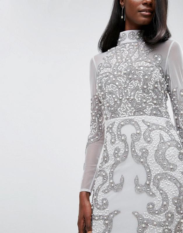 Asos роскошное декорированное платье бисер и пайетки ASOS 4a82acd93b9a1